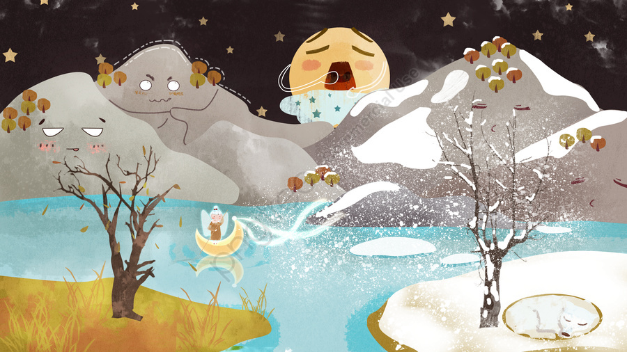 Mountain Story가 무너질 예정이며 겨울이 조용히오고 있습니다 , 산 개체, 가을, 겨울 llustration image