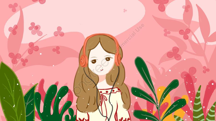 聽音樂的女孩, 音樂節, 音樂, 聽音樂的女孩 llustration image