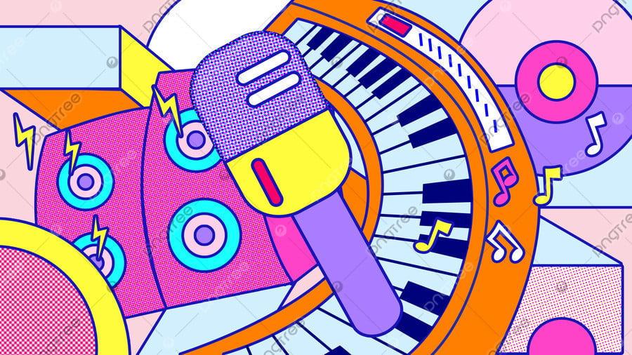 Elementos Do Festival De Música Feliz Memphis Style Stroke Illustration, Festival De Música, Instrumento Musical, Piano llustration image