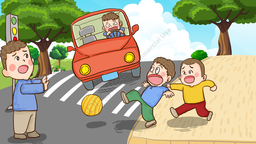 交通安全デーは、道路上での手描きのオリジナルイラストの使用を禁止しています, 全国, 交通, 安全の日 llustration image
