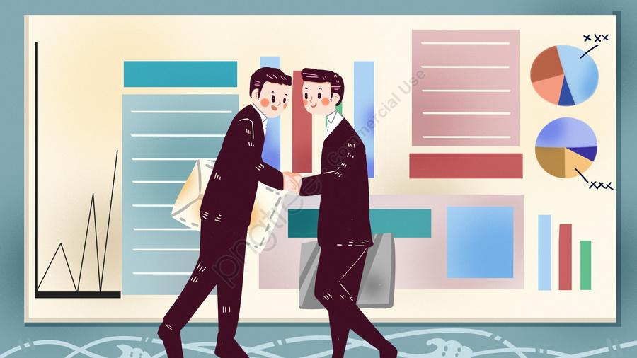 商談会残業事務所スーツ財務採用会議, 交渉, 事務所, ビジネス llustration image
