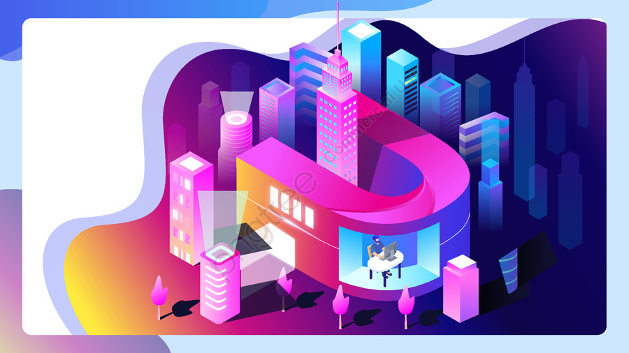 नियॉन स्काईलाइन फ्यूचर सिटी लाइफ टेक्नोलॉजी लेटर यू इलस्ट्रेशन, नियोन शहर, भविष्य का शहर, सममितीय चित्रण llustration image