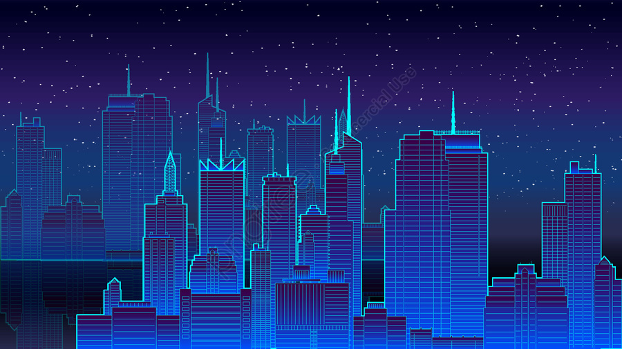Neon city vector illustration, Neon, City, Night llustration image