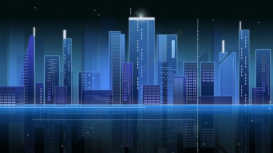 Neon Bầu Trời Gradient Thành Phố đêm Không Khí Màu Xanh Công Nghệ Cảm Giác Poster, Neon, Độ Dốc, Cảnh đêm Thành Phố llustration image