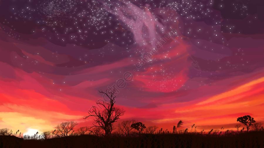 Starry sky under the sunset of neon skyline, Neon Skyline, Starry Sky In The Sunset, Starry Sky llustration image