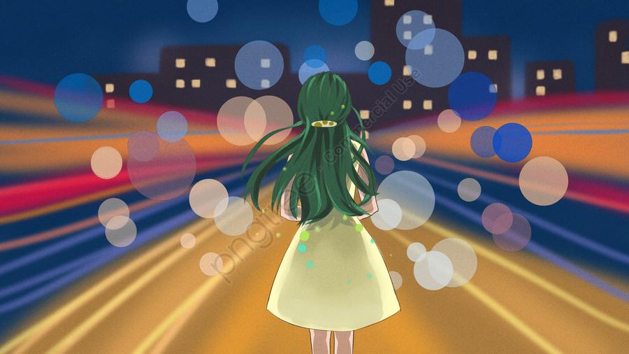 Original Illustration Of Girl Standing In The City At Night, Night, City, Building llustration image