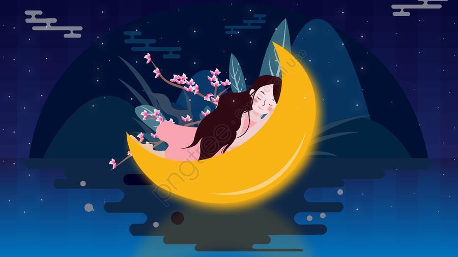 Good night world is a girl in dream, Night, Dream, Girl llustration image