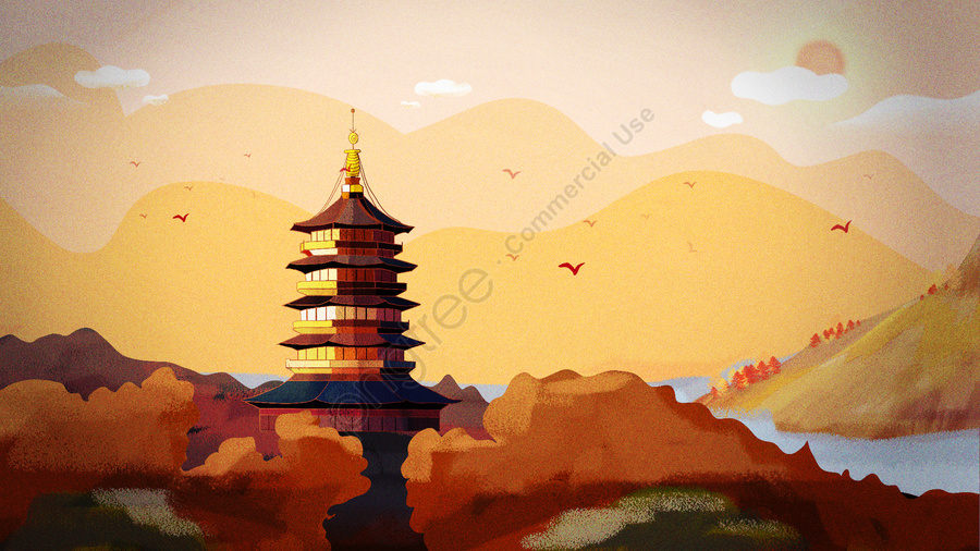 November Hello West Lake Leifeng Tower Ancient Architecture, November, Autumn, Autumn Wind llustration image