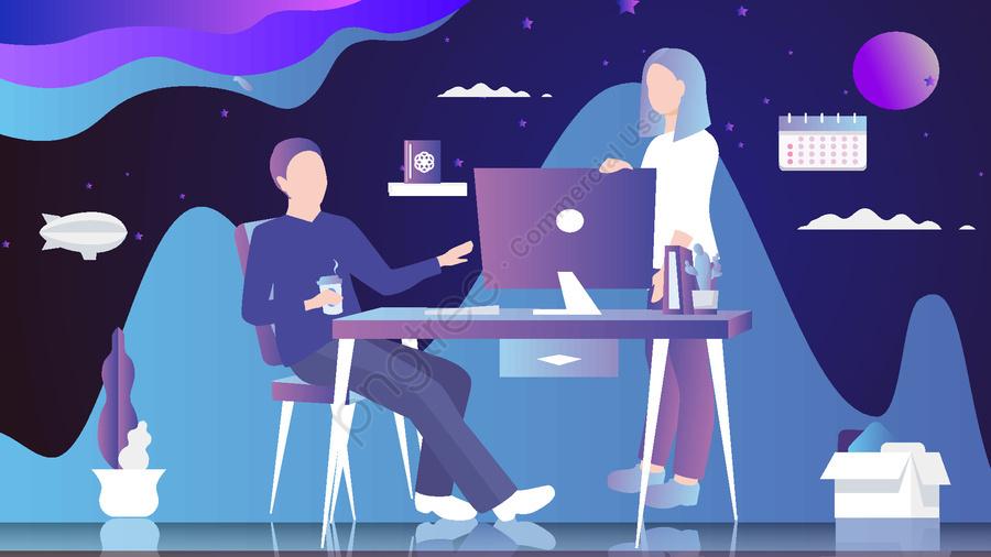 कार्यालय कार्टून चरित्र चित्रण, दफ्तर, व्यापार, काम llustration image