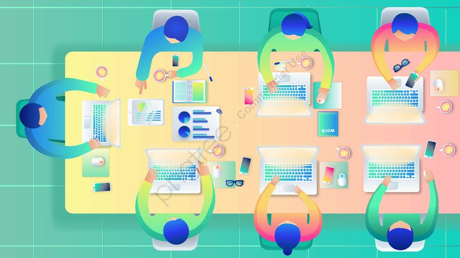 Business Office Character Meeting Work Overlooking Scene Vector Gradient Illustration, Office, Meeting Room, Floor Tile llustration image