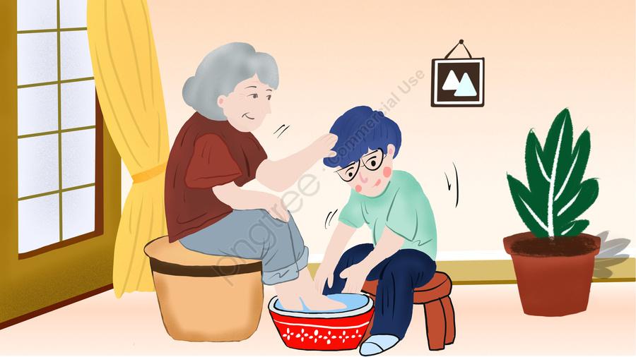 Original Illustration Warm Home Care For The Elderly, Old Man, Warm, Scenes llustration image