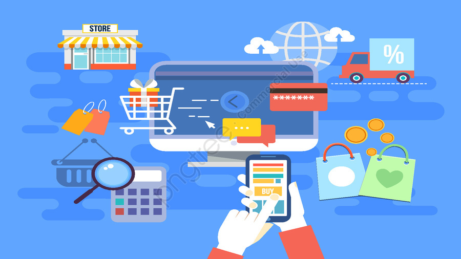 Vector original online shopping scene flow illustration, Online Shopping, E Commerce, Pay llustration image