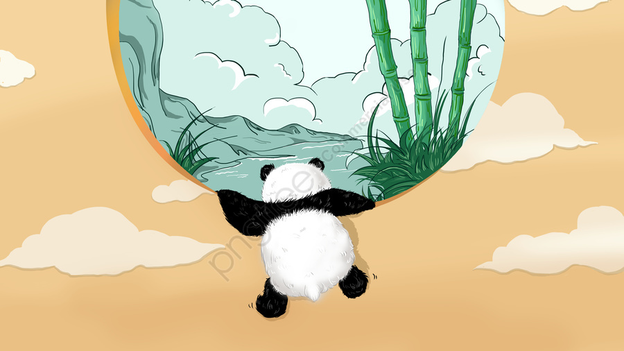 प्यारा पालतू पांडा बच्चे का दिन, मूल, व्यापार चित्रण, वॉलपेपर पोस्टर llustration image