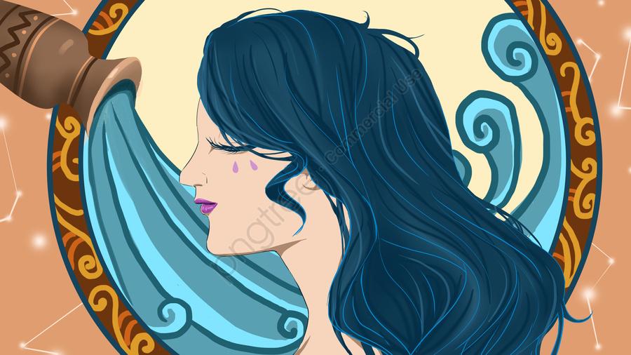 12 созвездие Водолея девушка тотем, оригинал, Бизнес иллюстрация, Обои постер llustration image