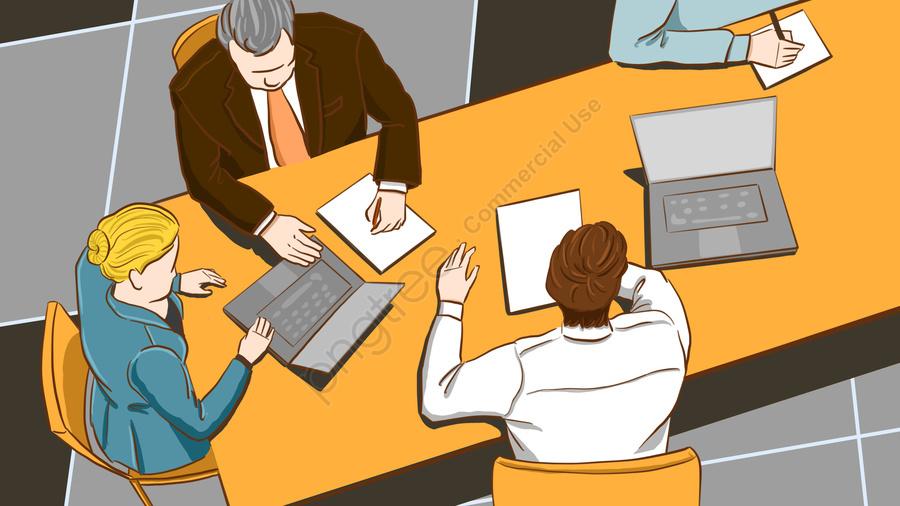 元の仕事で会議の人々のビジネスオフィスイラスト, 元の, 事業所, 事業者 llustration image