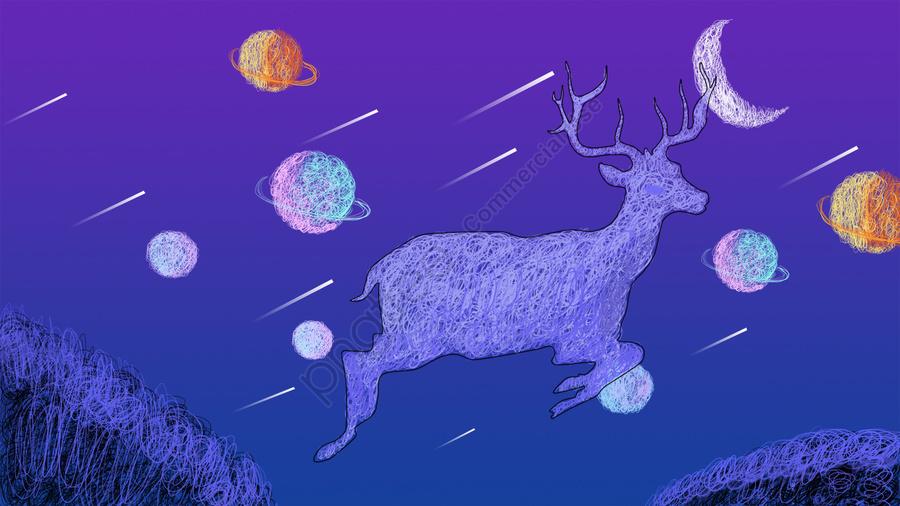 オリジナルコイルイラストファンタジー星空ヘラジカ, 元の, コイル, イラスト llustration image