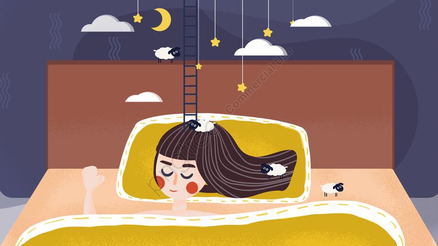 Original good night world girl sleeping sheep dream hand-painted, Original, Good Night, World llustration image