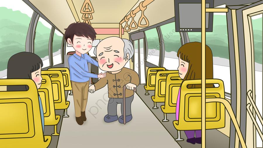 Уступать место в автобусе картинка