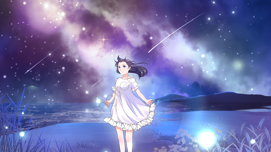 Оригинальное исцеление звездное небо маленькая свежая иллюстрация, оригинал, Система исцеления, Маленький свежий llustration image