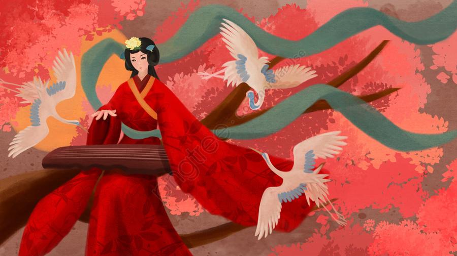 元のイラスト、美しい、古代の数字、花と鳥, 元のイラスト, 古代の姿, 古代の花と鳥 llustration image