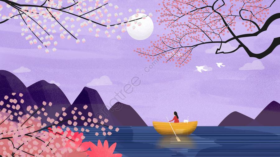 Ban đầu Minh Họa Phong Cảnh Bầu Trời đêm, Minh Họa Gốc, Bầu Trời đêm, Phong Cảnh llustration image