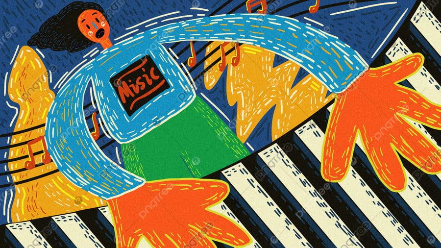 Original Music Festival Play Piano Retro Texture Hand
