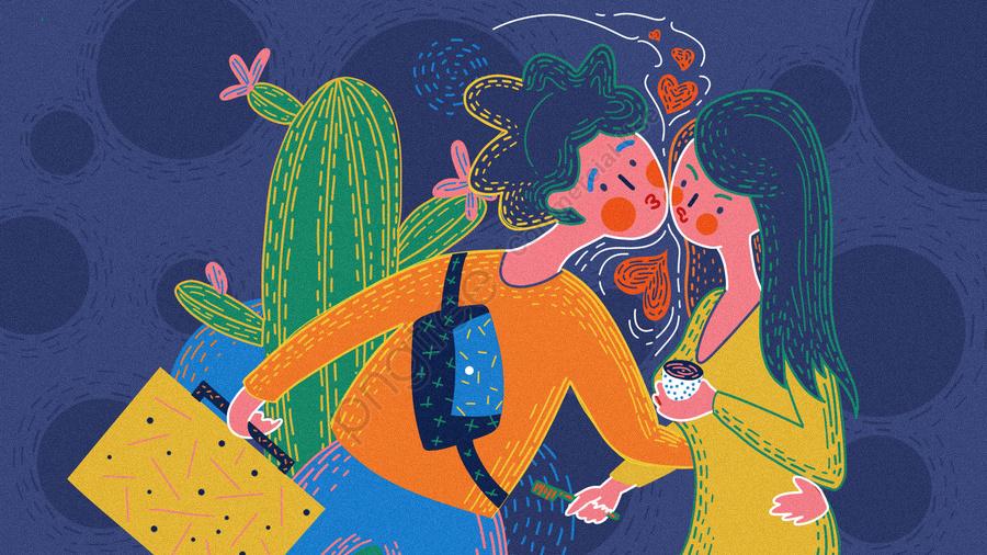 Original Retro Texture Couple Everyday Work Kiss Illustration, Original, Retro Texture, Couple llustration image