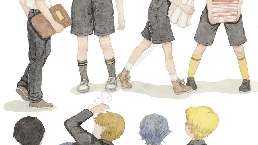 シンプルで新鮮な水彩風の季節の学校少年制服イラスト, 元の, 水彩画, 少年 llustration image