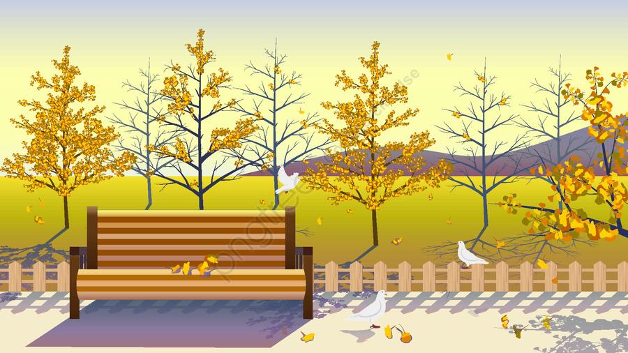 公園秋の眺めベクトルイラスト, 公園, ベンチ, あき llustration image