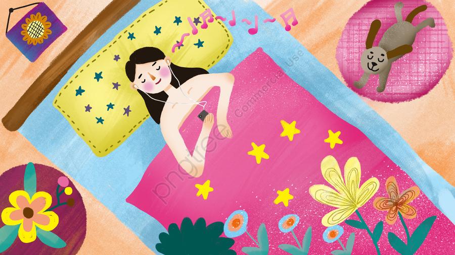 Good Night World Girl Listening To Pop Music Falling Asleep, Pet, Puppy, Girl llustration image
