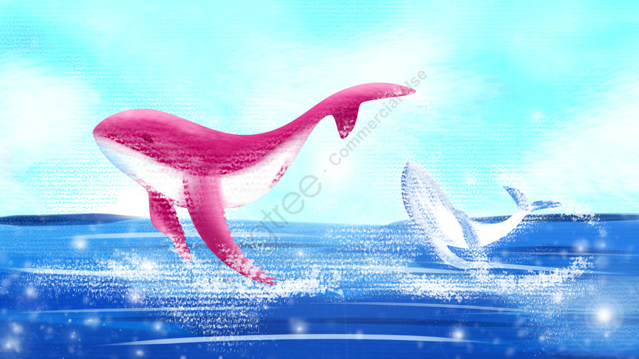 Sea and whale jumping illustration, Pink, Decorative Paintings, Ocean llustration image