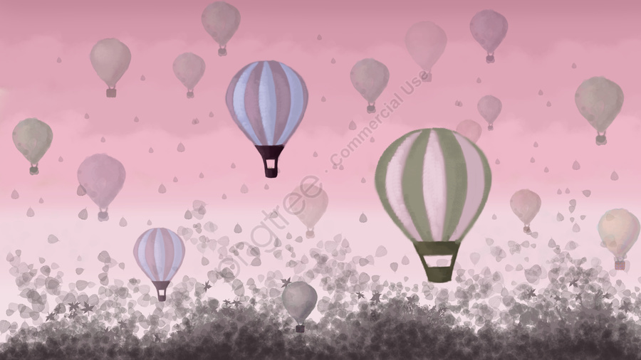 Hot air balloon under pink sky, Pink, Sky, Sunset Glow llustration image
