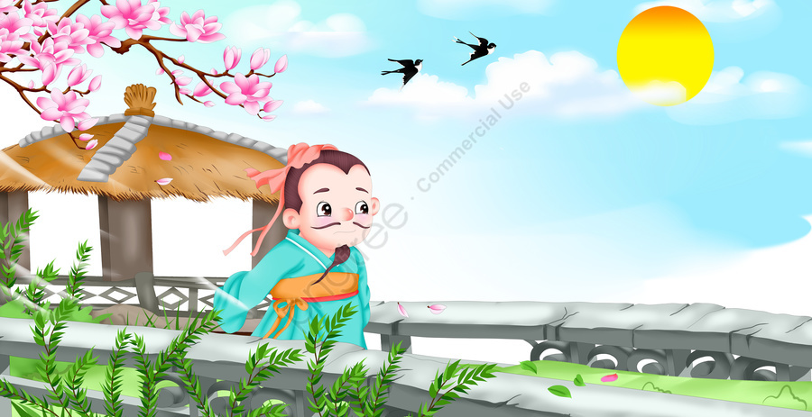 Cartoon Cute Illustration Picture Book Idiom Poet Su Xiting, Poetry, Idiom Story, Illustration llustration image