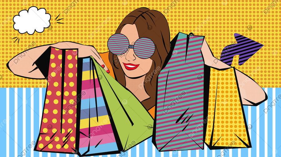 여자 쇼핑 축제 팝 스타일 일러스트 레이션, 대중 음악, 여자, 쇼핑 llustration image