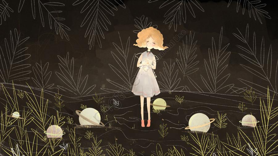 元の図はおやすみなさい世界の女の子の夜の祈りを治す, 祈る, 感謝祭, 惑星 llustration image