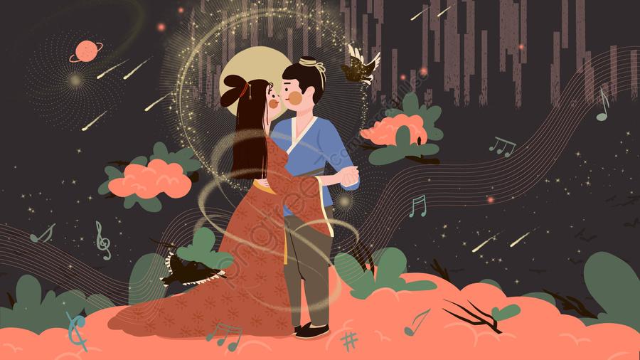 オリジナルの羊飼いとウィーバーガールの七夕祭りブリッジミーティングダンスイラスト, 七夕祭り, 臆病者とウィーバー, Cowherd And Weaver Girlブリッジミーティング llustration image