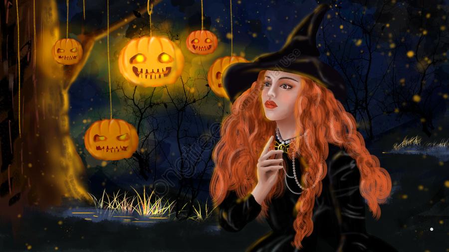 静かな夜の湖畔の森カボチャランタン魔女の祈りのハロウィーンの図, 静かな, 夜, 湖畔 llustration image
