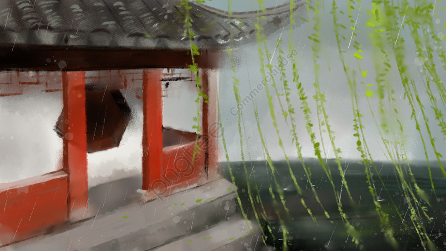 Simple small fresh ink summer ancient architecture, Rain, Antiquity, Ink llustration image