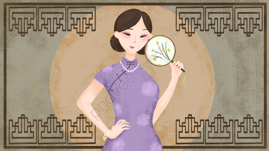 Simple Atmosphere Retro Texture Elegant Cheongsam Woman Illustration, Republic Of China, Cheongsam, Cheongsam Woman llustration image