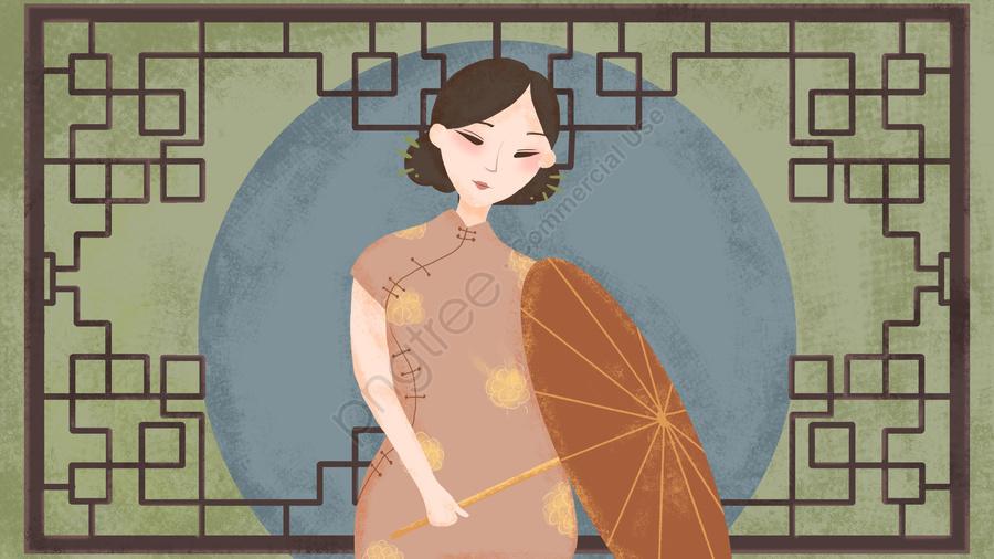 Simple Atmosphere Chinese Style Retro Texture Elegant Cheongsam Woman Illustration, Republic Of China, Cheongsam, Cheongsam Woman llustration image