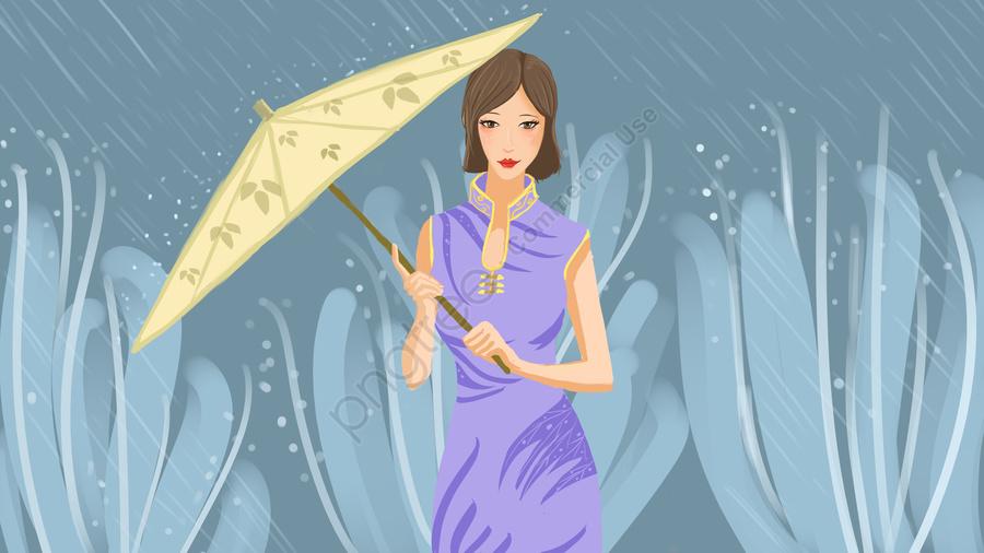 Cộng Hòa Gió Trung Quốc Mưa Nữ Trong Poster Giấy Minh Họa ô Với Bản đồ, Cộng Hòa Trung Quốc, Người Phụ Nữ Sườn Xám, Trong Mưa llustration image