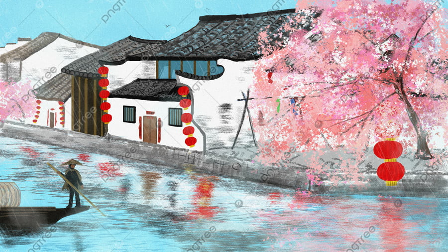 Chinese Style Architectural Original Illustration, Republic Of China, Chinese Style, Building llustration image