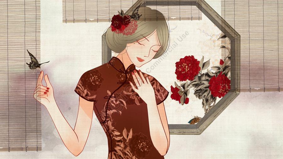 チャイナドレスを着ている中国風レトロテクスチャ牡丹の花を持つ女性, 中華民国, レトロ, 中華風 llustration image