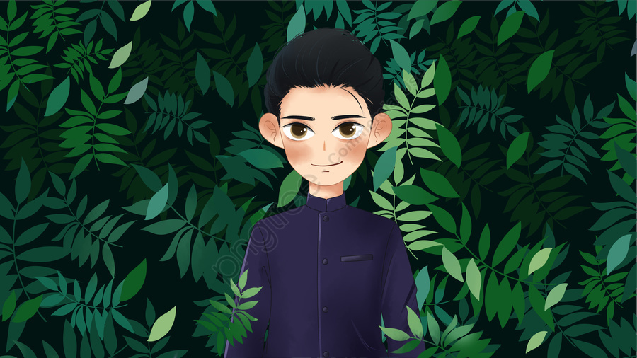 Simple and fresh green leaves republic of china student boy tunic illustrator, 中華民国, 学生, 少年 llustration image