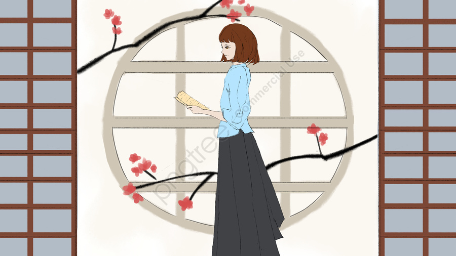 Republic of china student literary girl, Republic Of China, Student Wear, Teenage Girl llustration image