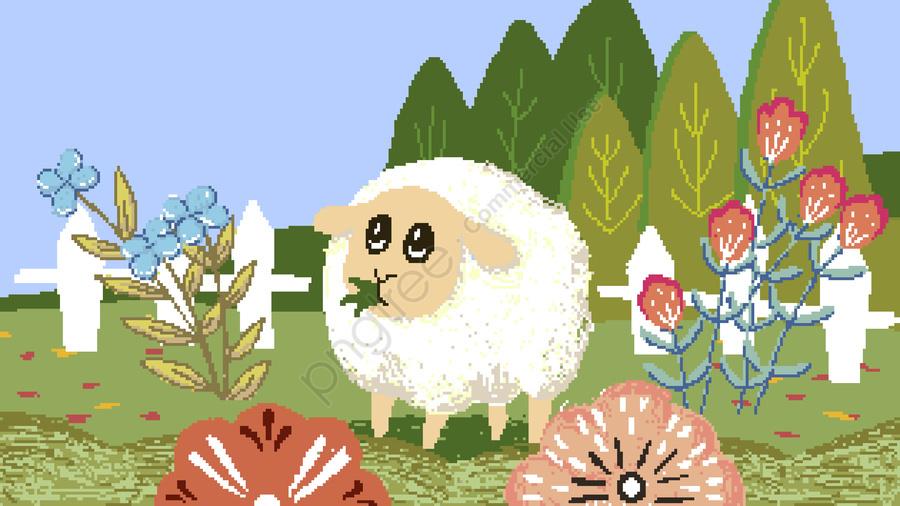 Années 1980 Illustration Pixel Rétro Mouton Plante Fleurs