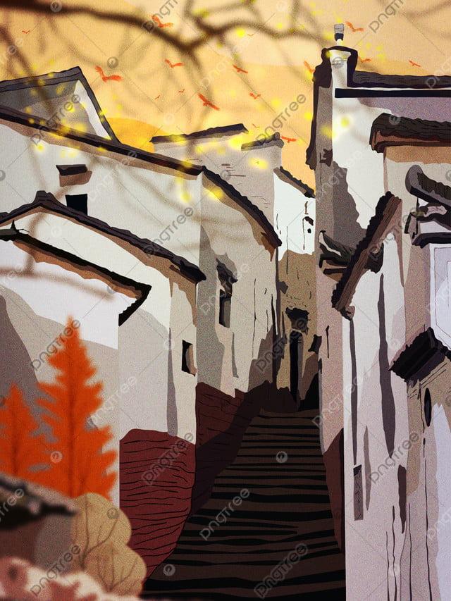 Retro Realistic Illustration Of Huizhou Architectural Folk