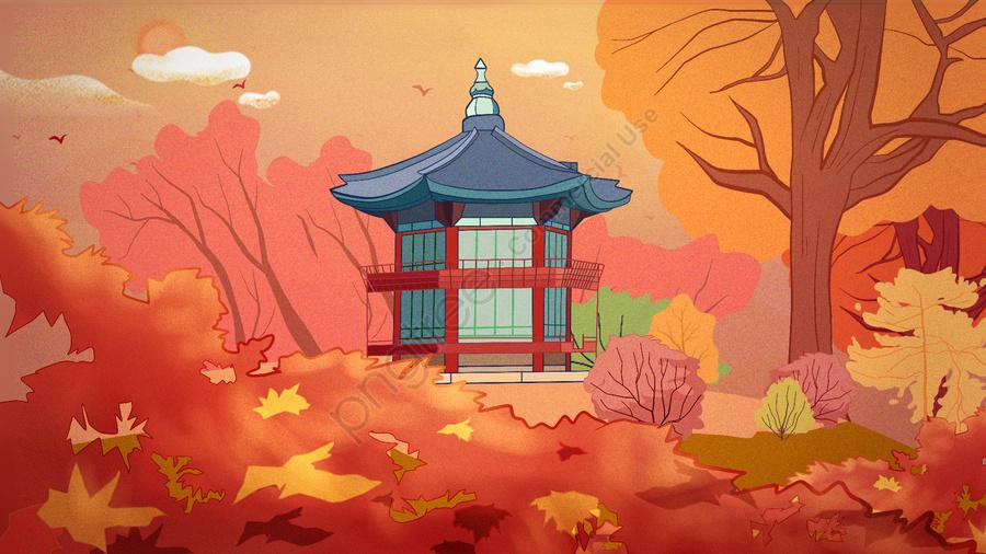 경관 건축 고대 가을 경복궁 한국 추석 달, 경관 아키텍처, 유물, 레트로 llustration image