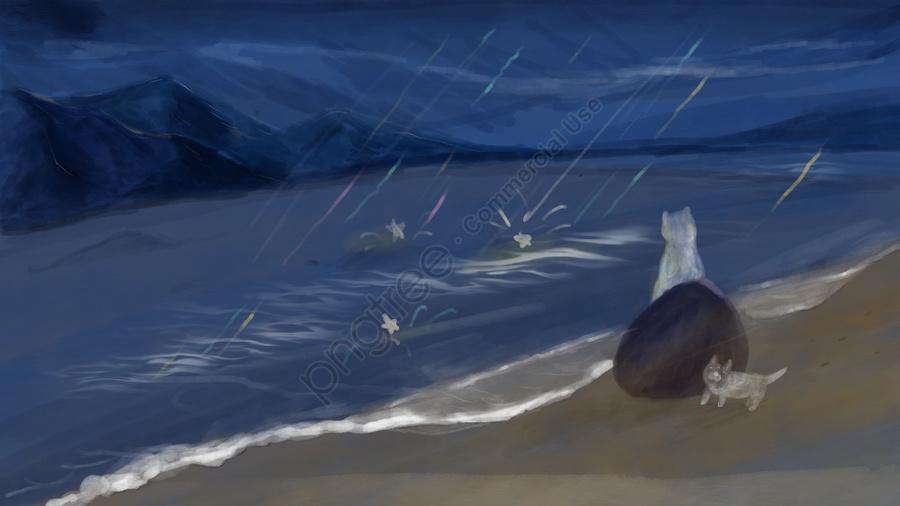 Hello Good Night Original Illustration, Sea, Starry Sky, Good Night llustration image
