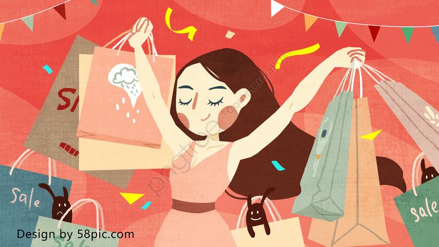 ショッピングカーニバルオリジナルの手描きの小さな新鮮なイラスト, 買い物, カーニバル, 女性の休日 llustration image
